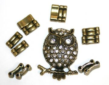 Antique brass owl pendant ring kit with clear rhinestone 12 pcs & elastic 1 piece - S.F07 - 1411133